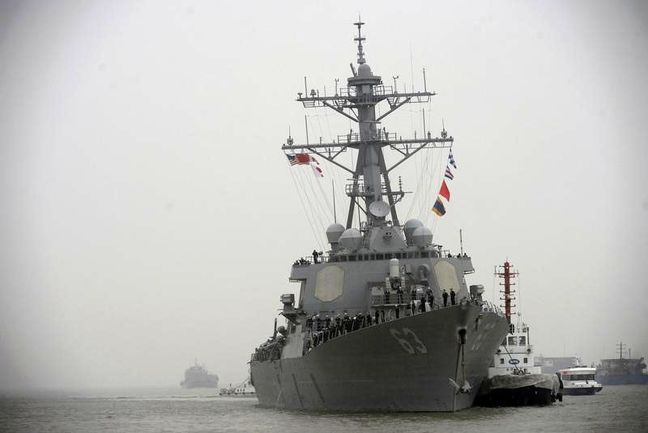 U.S. warship in operation near disputed island in South China Sea