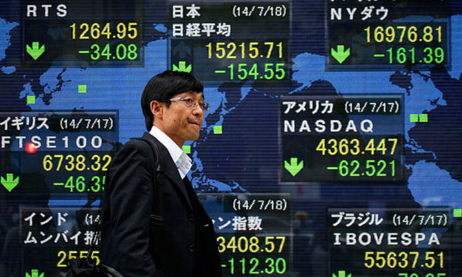 Asian shares ride U.S., European gains, dollar hovers near seven-week high