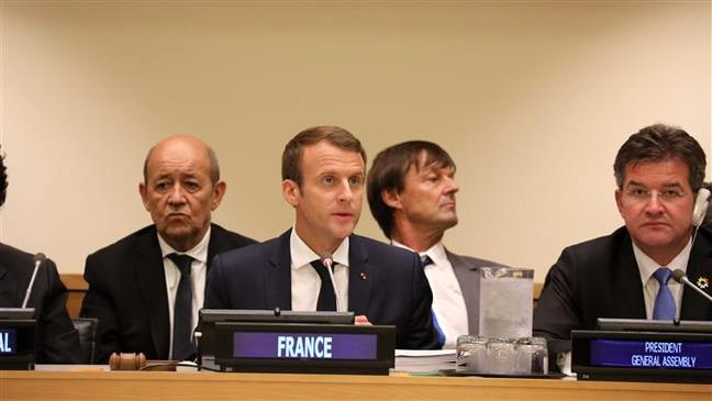 French president stresses Iran's influential role in Syria peace efforts