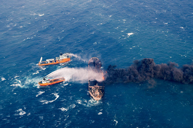 2 Bodies, Black Box Recovered From Burning Iranian Vessel
